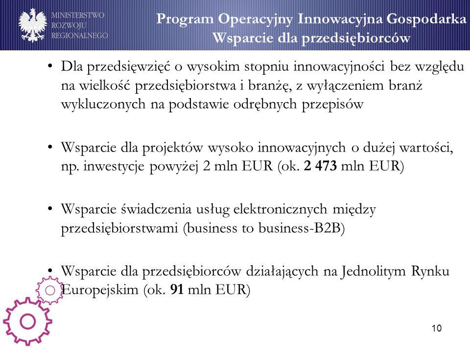 10 Program Operacyjny Innowacyjna Gospodarka Wsparcie dla przedsiębiorców Dla przedsięwzięć o wysokim stopniu innowacyjności bez względu na wielkość p