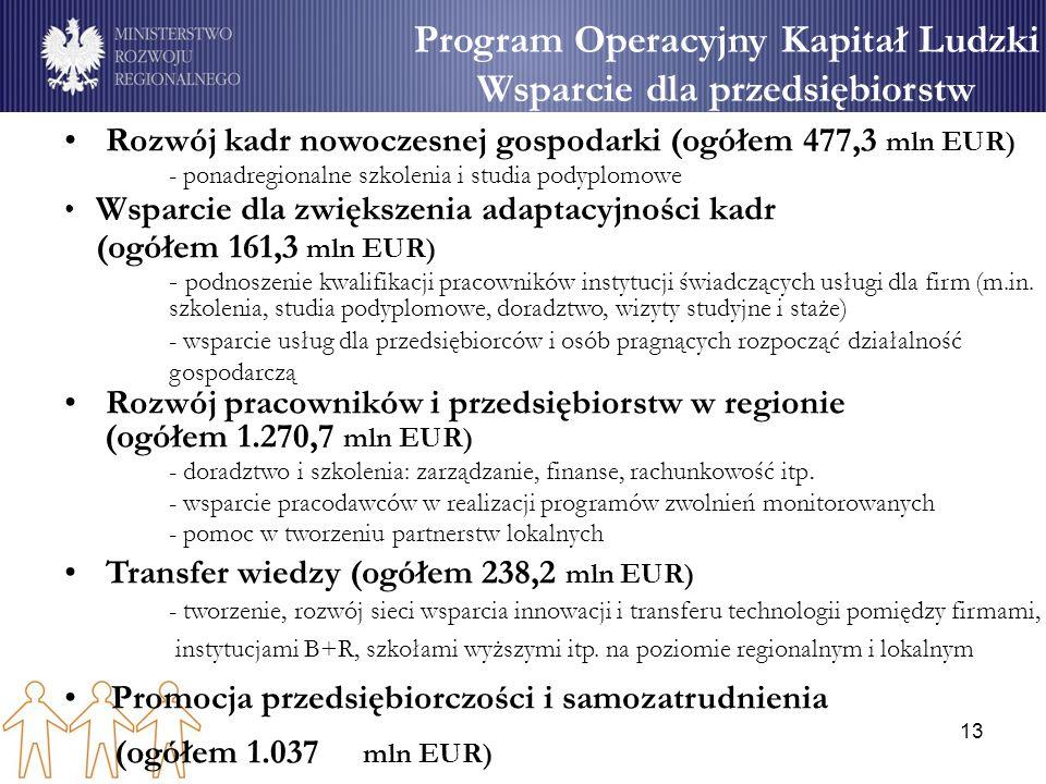 13 Program Operacyjny Kapitał Ludzki Wsparcie dla przedsiębiorstw Rozwój kadr nowoczesnej gospodarki (ogółem 477,3 mln EUR) - ponadregionalne szkoleni