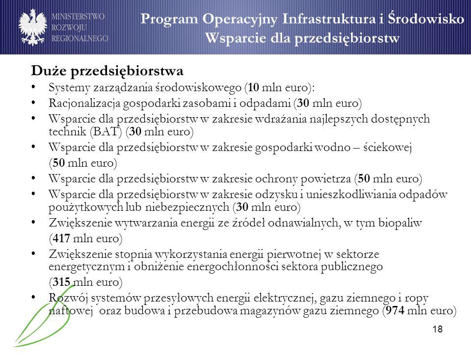 18 Program Operacyjny Infrastruktura i Środowisko Wsparcie dla przedsiębiorstw Duże przedsiębiorstwa Systemy zarządzania środowiskowego (10 mln euro):