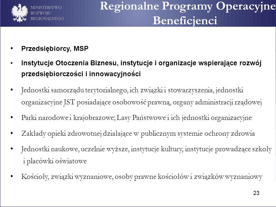 23 Regionalne Programy Operacyjne Beneficjenci Przedsiębiorcy, MSP Instytucje Otoczenia Biznesu, instytucje i organizacje wspierające rozwój przedsięb