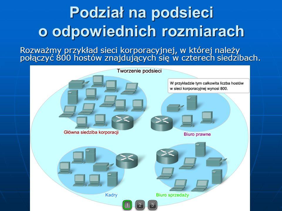 Podział na podsieci o odpowiednich rozmiarach Rozważmy przykład sieci korporacyjnej, w której należy połączyć 800 hostów znajdujących się w czterech s