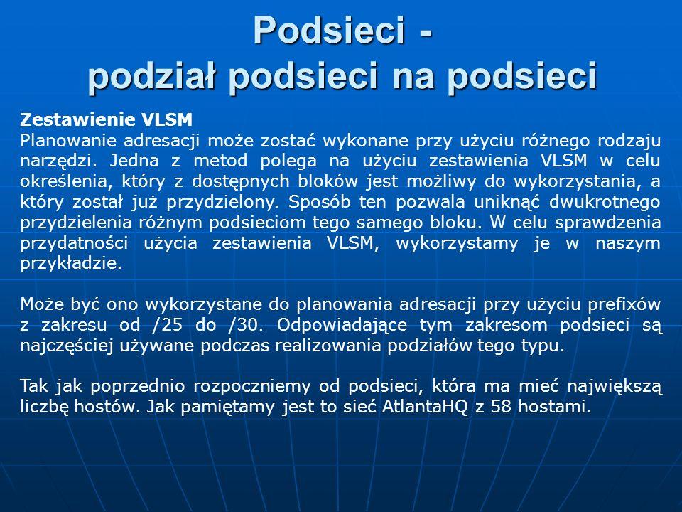 Zestawienie VLSM Planowanie adresacji może zostać wykonane przy użyciu różnego rodzaju narzędzi. Jedna z metod polega na użyciu zestawienia VLSM w cel
