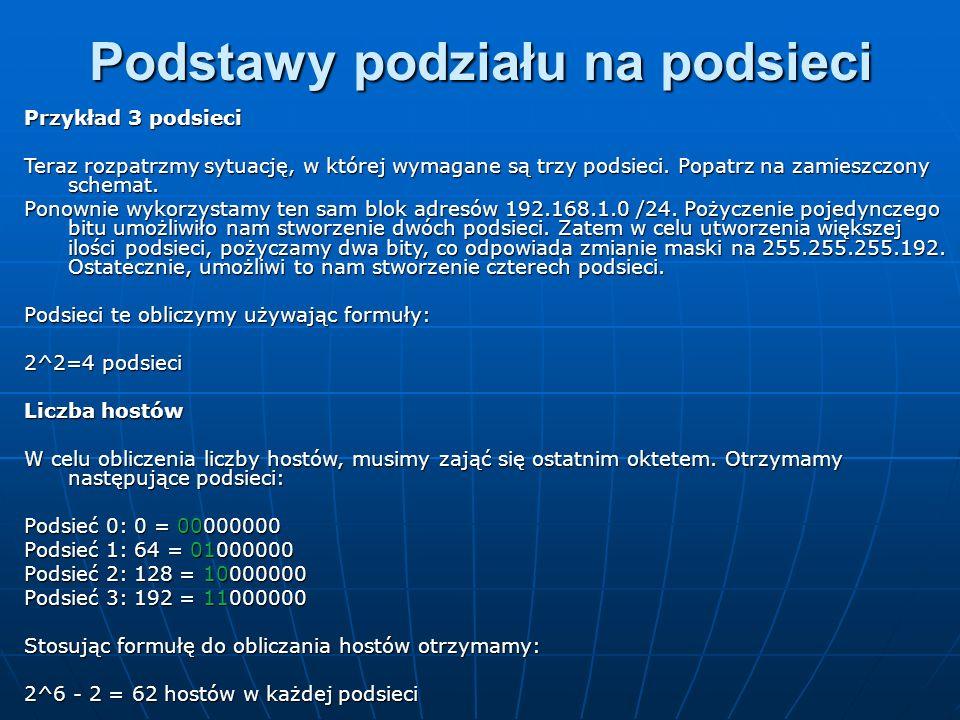 Na schemacie adresy przydzielone do sieci WAN zostały zaznaczone jako już wykorzystane, aby nie móc przydzielić ich do innych sieci.