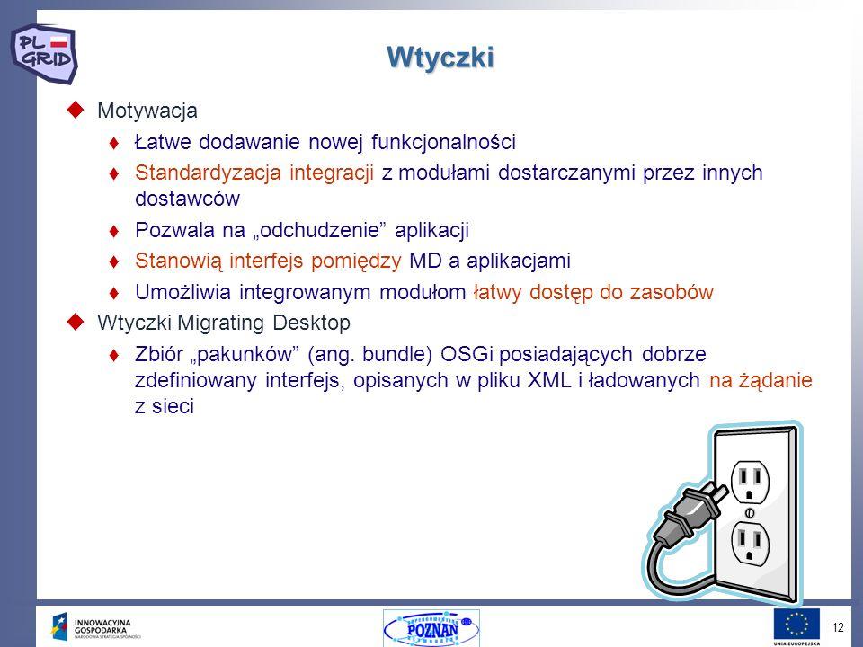 12 Wtyczki Motywacja Łatwe dodawanie nowej funkcjonalności Standardyzacja integracji z modułami dostarczanymi przez innych dostawców Pozwala na odchudzenie aplikacji Stanowią interfejs pomiędzy MD a aplikacjami Umożliwia integrowanym modułom łatwy dostęp do zasobów Wtyczki Migrating Desktop Zbiór pakunków (ang.