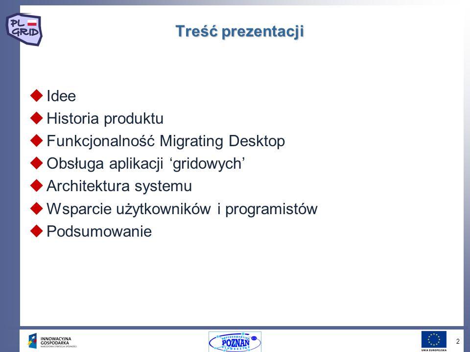 2 Treść prezentacji Idee Historia produktu Funkcjonalność Migrating Desktop Obsługa aplikacji gridowych Architektura systemu Wsparcie użytkowników i programistów Podsumowanie