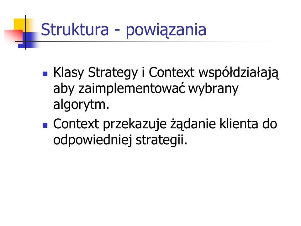 Struktura - powiązania Klasy Strategy i Context współdziałają aby zaimplementować wybrany algorytm.