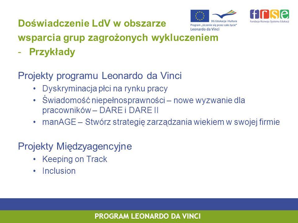 PROGRAM LEONARDO DA VINCI Doświadczenie LdV w obszarze wsparcia grup zagrożonych wykluczeniem -Przykłady Projekty programu Leonardo da Vinci Dyskryminacja płci na rynku pracy Świadomość niepełnosprawności – nowe wyzwanie dla pracowników – DARE i DARE II manAGE – Stwórz strategię zarządzania wiekiem w swojej firmie Projekty Międzyagencyjne Keeping on Track Inclusion