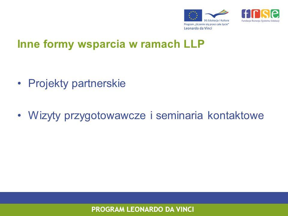 PROGRAM LEONARDO DA VINCI Inne formy wsparcia w ramach LLP Projekty partnerskie Wizyty przygotowawcze i seminaria kontaktowe