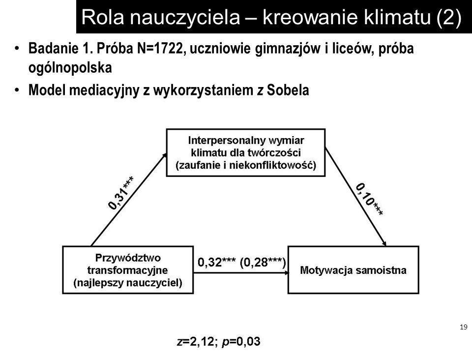 Rola nauczyciela – kreowanie klimatu (2) 19 Badanie 1. Próba N=1722, uczniowie gimnazjów i liceów, próba ogólnopolska Model mediacyjny z wykorzystanie