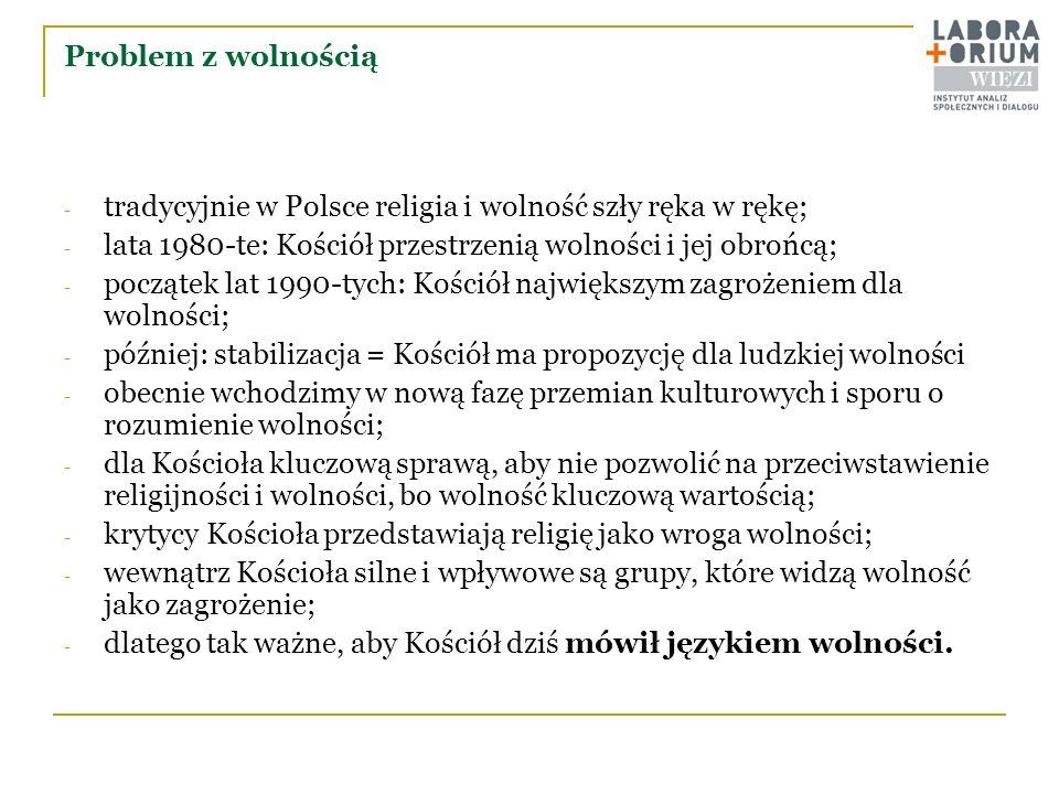 Problem z wolnością - tradycyjnie w Polsce religia i wolność szły ręka w rękę; - lata 1980-te: Kościół przestrzenią wolności i jej obrońcą; - początek