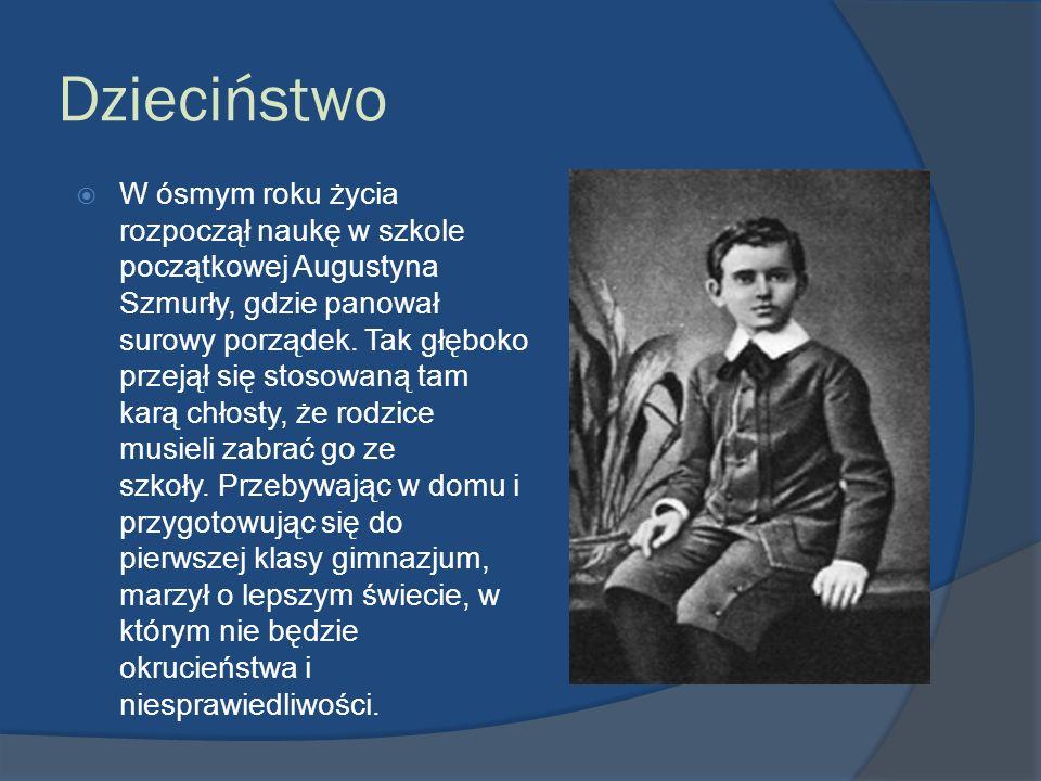 Dzieciństwo W ósmym roku życia rozpoczął naukę w szkole początkowej Augustyna Szmurły, gdzie panował surowy porządek. Tak głęboko przejął się stosowan