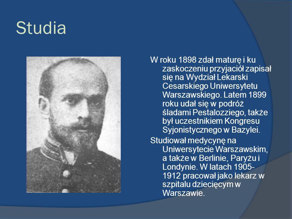 Studia W roku 1898 zdał maturę i ku zaskoczeniu przyjaciół zapisał się na Wydział Lekarski Cesarskiego Uniwersytetu Warszawskiego. Latem 1899 roku uda