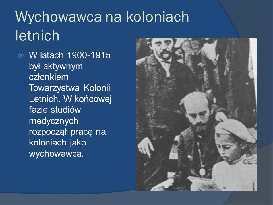 Wychowawca na koloniach letnich W latach 1900-1915 był aktywnym członkiem Towarzystwa Kolonii Letnich. W końcowej fazie studiów medycznych rozpoczął p