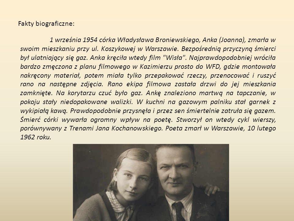 Fakty biograficzne: 1 września 1954 córka Władysława Broniewskiego, Anka (Joanna), zmarła w swoim mieszkaniu przy ul.