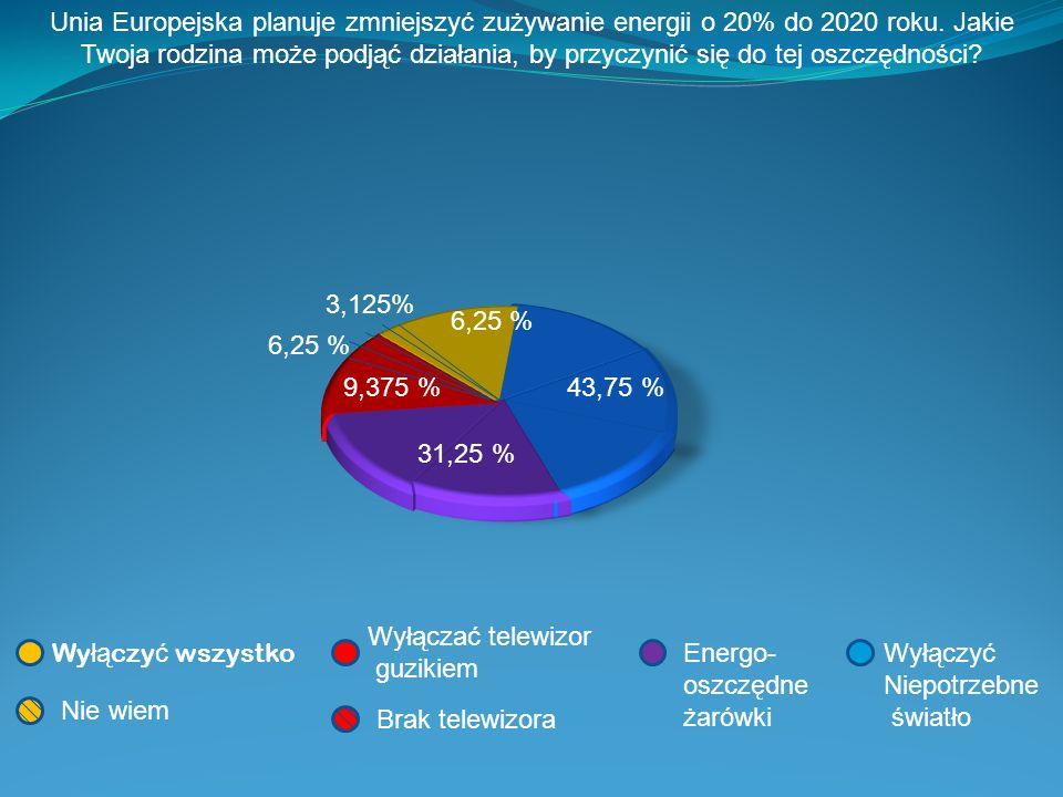 Unia Europejska planuje zmniejszyć zużywanie energii o 20% do 2020 roku. Jakie Twoja rodzina może podjąć działania, by przyczynić się do tej oszczędno