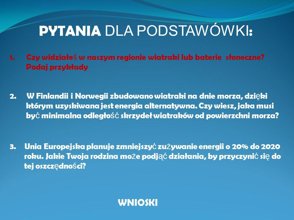 Unia Europejska jest regionem wiod ą cym w ś wiecie, je ż eli chodzi o wykorzystywanie energii wiatru?.