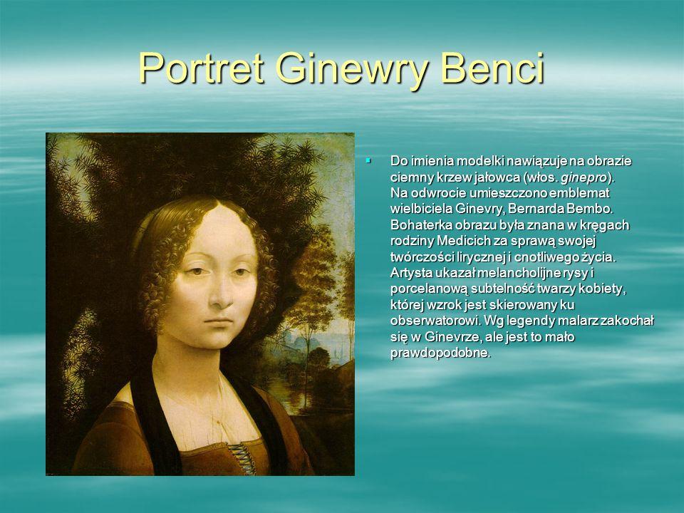 Portret Ginewry Benci Do imienia modelki nawiązuje na obrazie ciemny krzew jałowca (włos. ginepro). Na odwrocie umieszczono emblemat wielbiciela Ginev