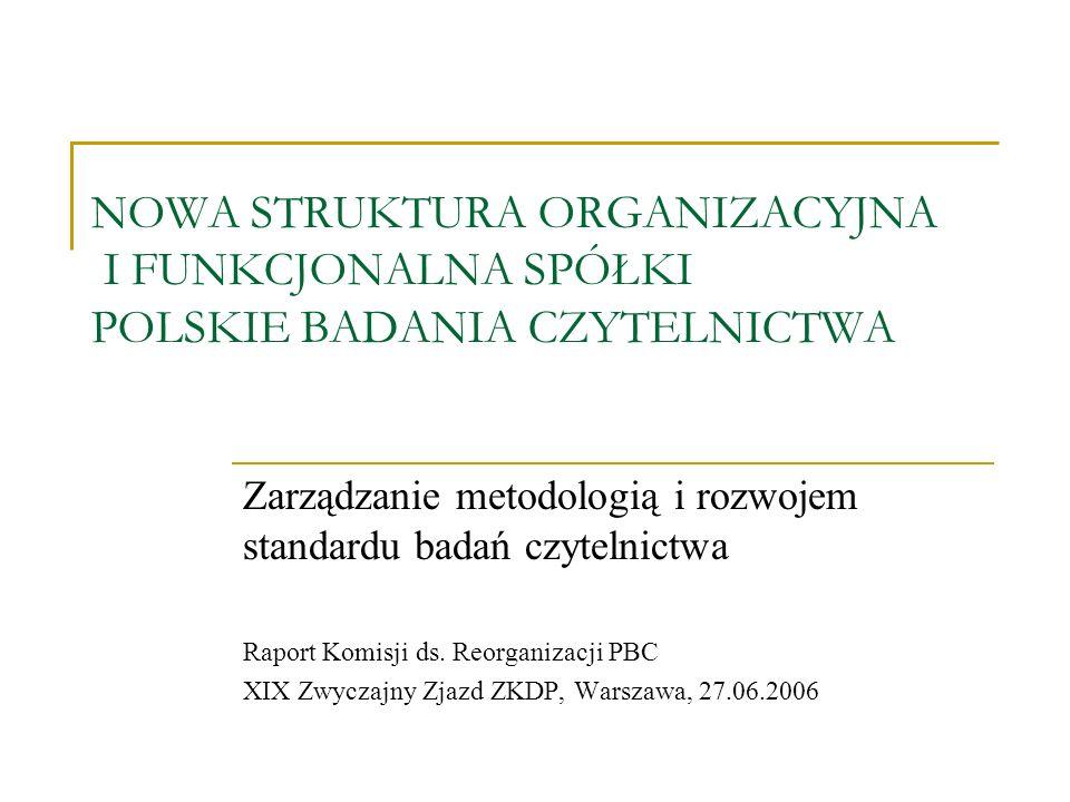 NOWA STRUKTURA ORGANIZACYJNA I FUNKCJONALNA SPÓŁKI POLSKIE BADANIA CZYTELNICTWA Zarządzanie metodologią i rozwojem standardu badań czytelnictwa Raport