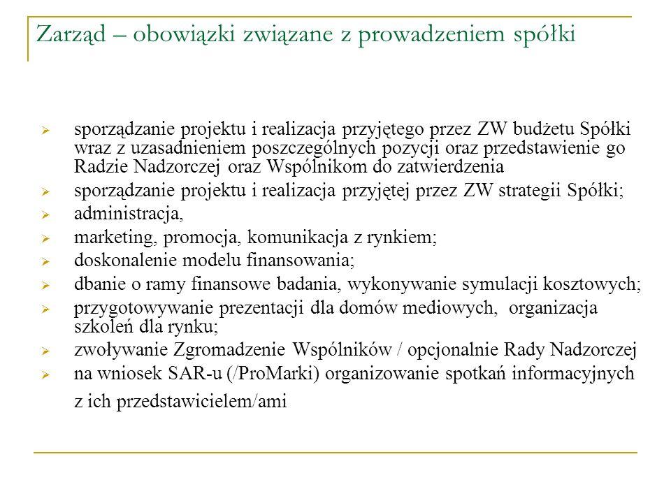 Zarząd – obowiązki związane z prowadzeniem spółki sporządzanie projektu i realizacja przyjętego przez ZW budżetu Spółki wraz z uzasadnieniem poszczegó
