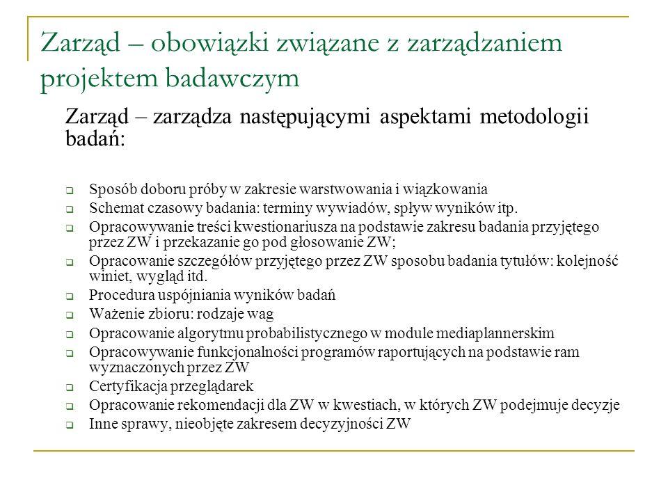 Zarząd – obowiązki związane z zarządzaniem projektem badawczym Zarząd – zarządza następującymi aspektami metodologii badań: Sposób doboru próby w zakr
