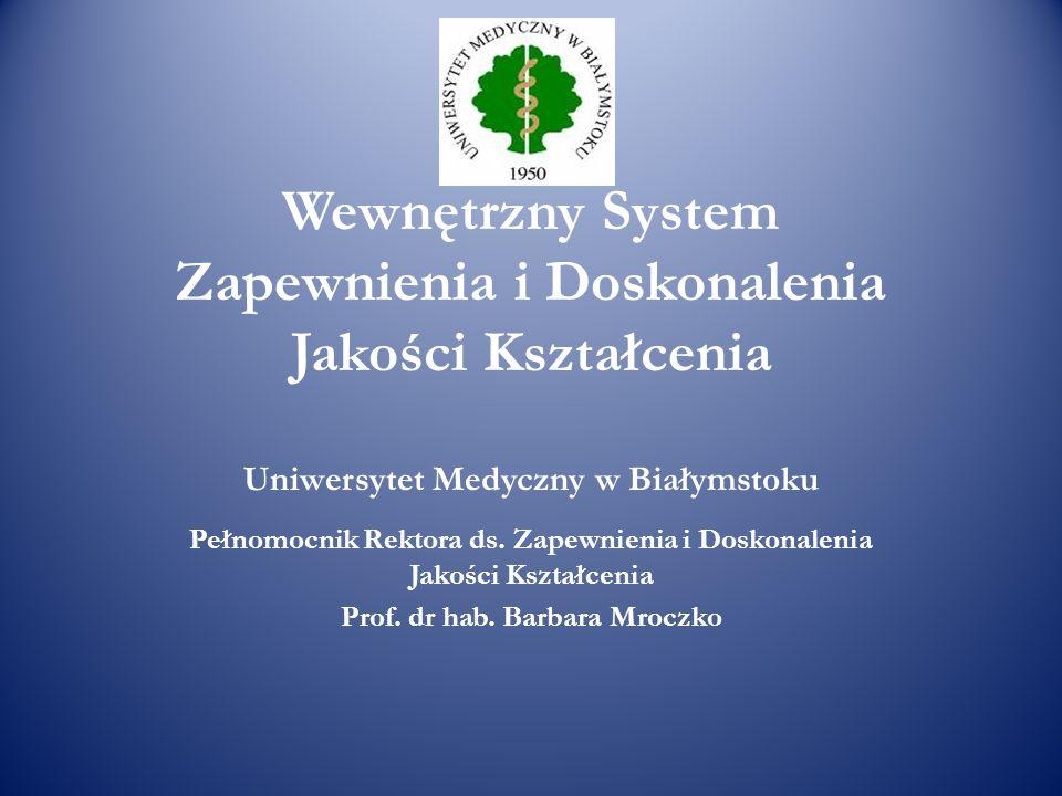 Wewnętrzny System Zapewnienia i Doskonalenia Jakości Kształcenia Uniwersytet Medyczny w Białymstoku Pełnomocnik Rektora ds. Zapewnienia i Doskonalenia