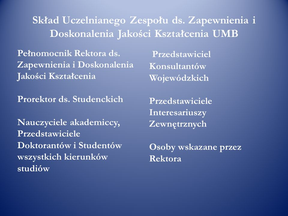 Skład Uczelnianego Zespołu ds. Zapewnienia i Doskonalenia Jakości Kształcenia UMB Pełnomocnik Rektora ds. Zapewnienia i Doskonalenia Jakości Kształcen