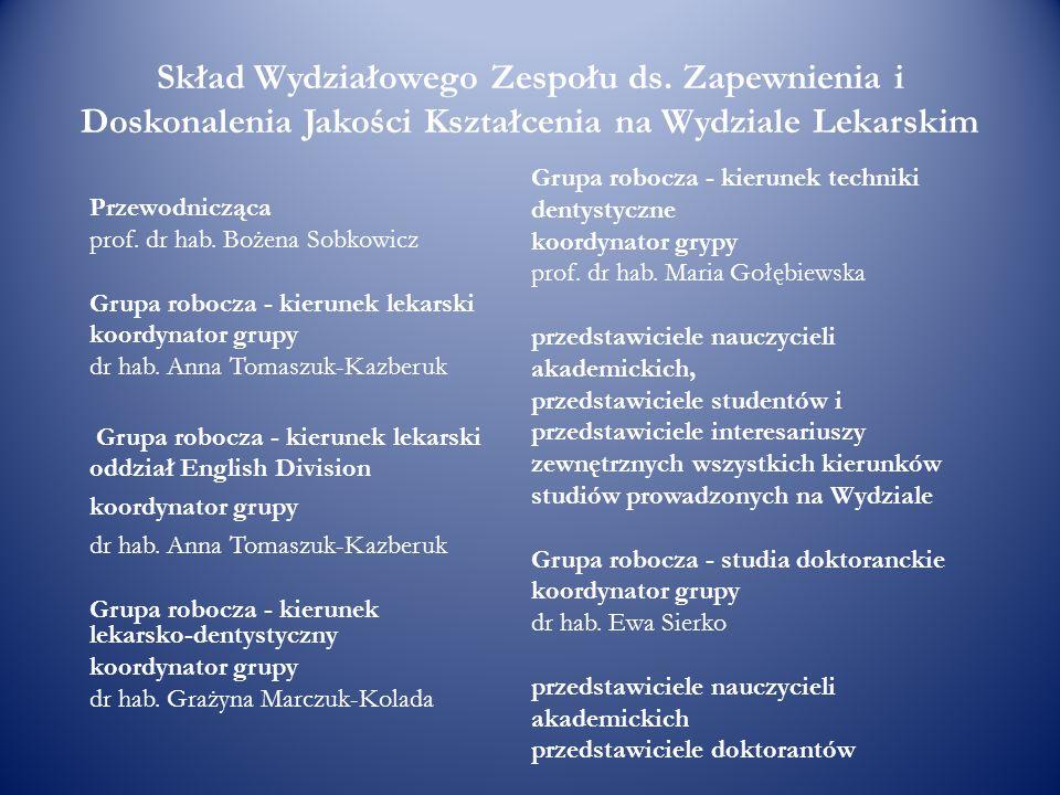 Skład Wydziałowego Zespołu ds. Zapewnienia i Doskonalenia Jakości Kształcenia na Wydziale Lekarskim Przewodnicząca prof. dr hab. Bożena Sobkowicz Grup