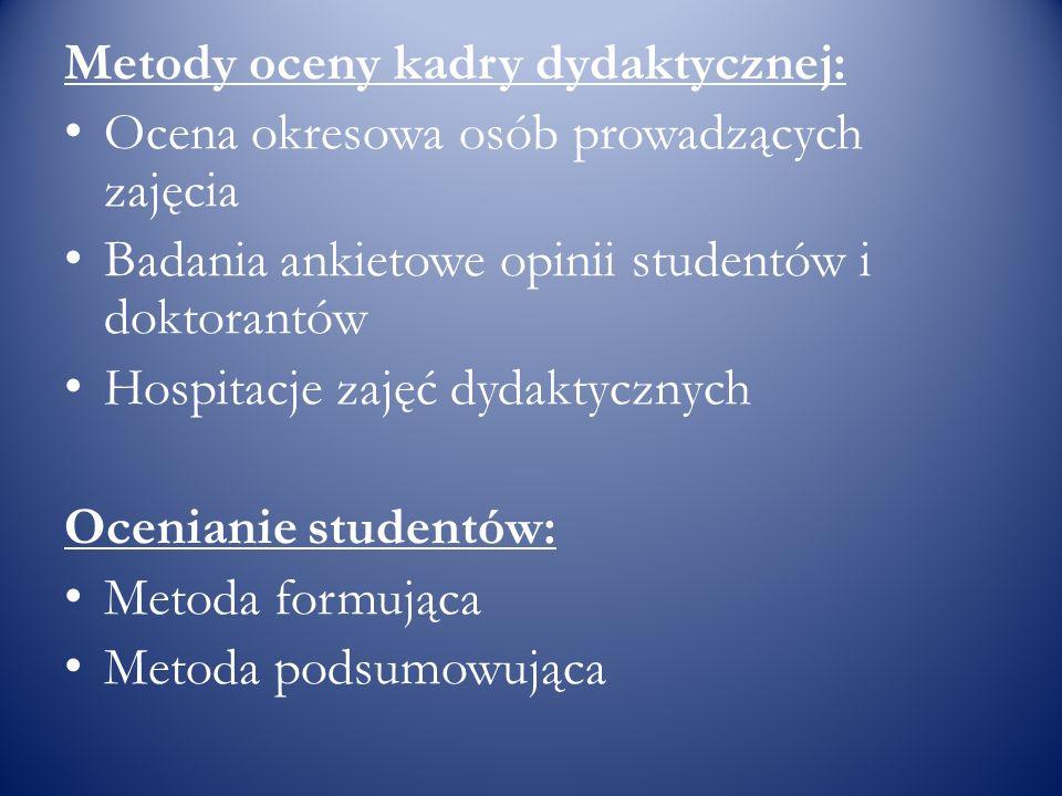 Metody oceny kadry dydaktycznej: Ocena okresowa osób prowadzących zajęcia Badania ankietowe opinii studentów i doktorantów Hospitacje zajęć dydaktyczn