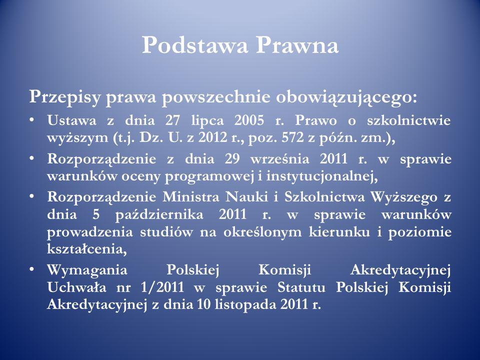Podstawa Prawna Przepisy prawa powszechnie obowiązującego: Ustawa z dnia 27 lipca 2005 r. Prawo o szkolnictwie wyższym (t.j. Dz. U. z 2012 r., poz. 57