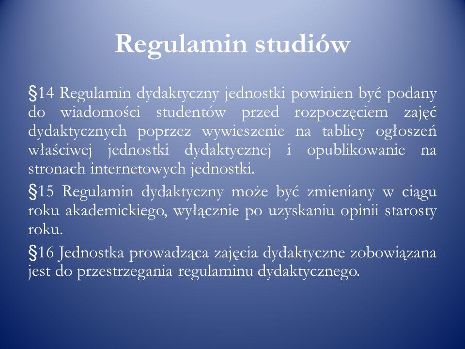 Regulamin studiów §14 Regulamin dydaktyczny jednostki powinien być podany do wiadomości studentów przed rozpoczęciem zajęć dydaktycznych poprzez wywie