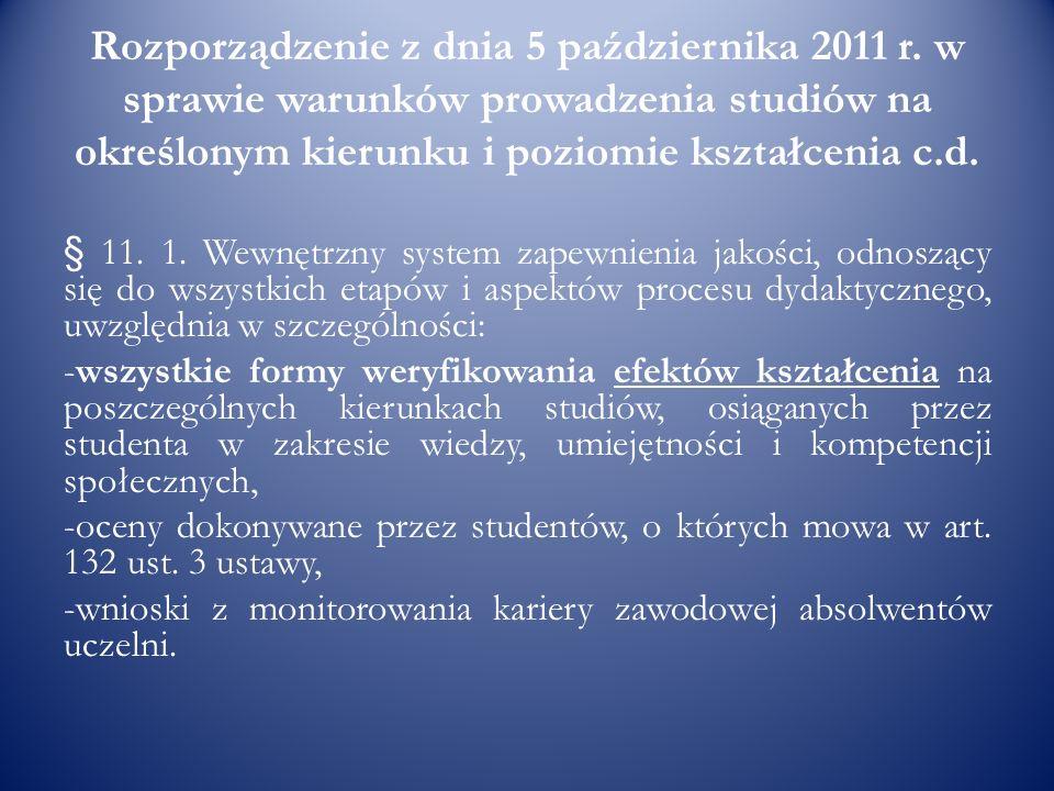 Rozporządzenie z dnia 5 października 2011 r. w sprawie warunków prowadzenia studiów na określonym kierunku i poziomie kształcenia c.d. § 11. 1. Wewnęt