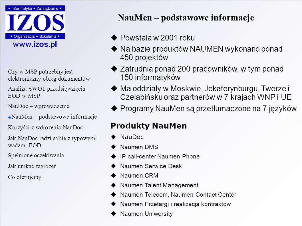 NauMen – podstawowe informacje Powstała w 2001 roku Na bazie produktów NAUMEN wykonano ponad 450 projektów Zatrudnia ponad 200 pracowników, w tym ponad 150 informatyków Ma oddziały w Moskwie, Jekaterynburgu, Twerze i Czelabińsku oraz partnerów w 7 krajach WNP i UE Programy NauMen są przetłumaczone na 7 języków Produkty NauMen NauDoc Naumen DMS IP call-center Naumen Phone Naumen Serwice Desk Naumen CRM Naumen Talent Management Naumen Telecom, Naumen Contact Center Naumen Przetargi i realizacja kontraktów Naumen Uniwersity Czy w MSP potrzebny jest elektroniczny obieg dokumentów Analiza SWOT przedsięwzięcia EOD w MSP NauDoc – wprowadzenie NauMen – podstawowe informacje Korzyści z wdrożenia NauDoc Jak NauDoc radzi sobie z typowymi wadami EOD Spełnione oczekiwania Jak unikać zagrożeń Co oferujemy