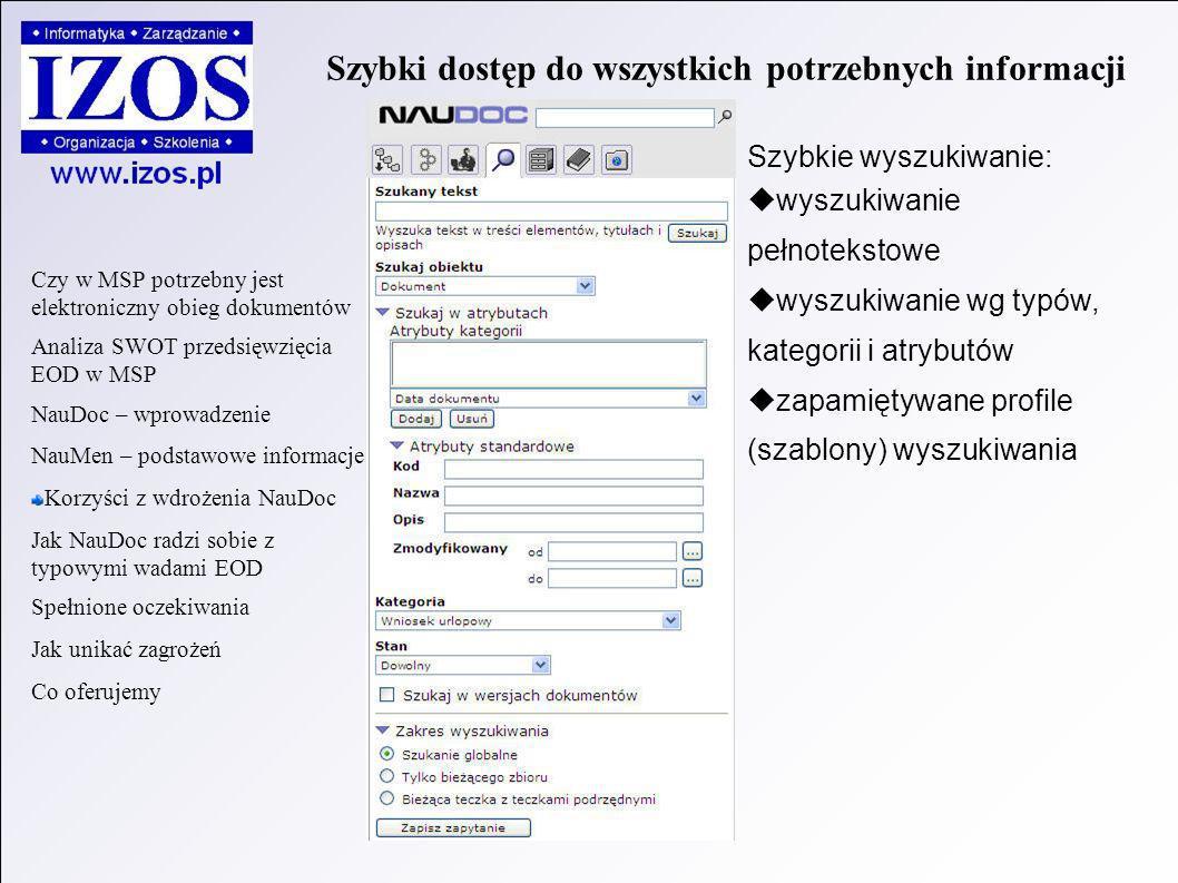 Szybki dostęp do wszystkich potrzebnych informacji Szybkie wyszukiwanie: wyszukiwanie pełnotekstowe wyszukiwanie wg typów, kategorii i atrybutów zapamiętywane profile (szablony) wyszukiwania Czy w MSP potrzebny jest elektroniczny obieg dokumentów Analiza SWOT przedsięwzięcia EOD w MSP NauDoc – wprowadzenie NauMen – podstawowe informacje Korzyści z wdrożenia NauDoc Jak NauDoc radzi sobie z typowymi wadami EOD Spełnione oczekiwania Jak unikać zagrożeń Co oferujemy