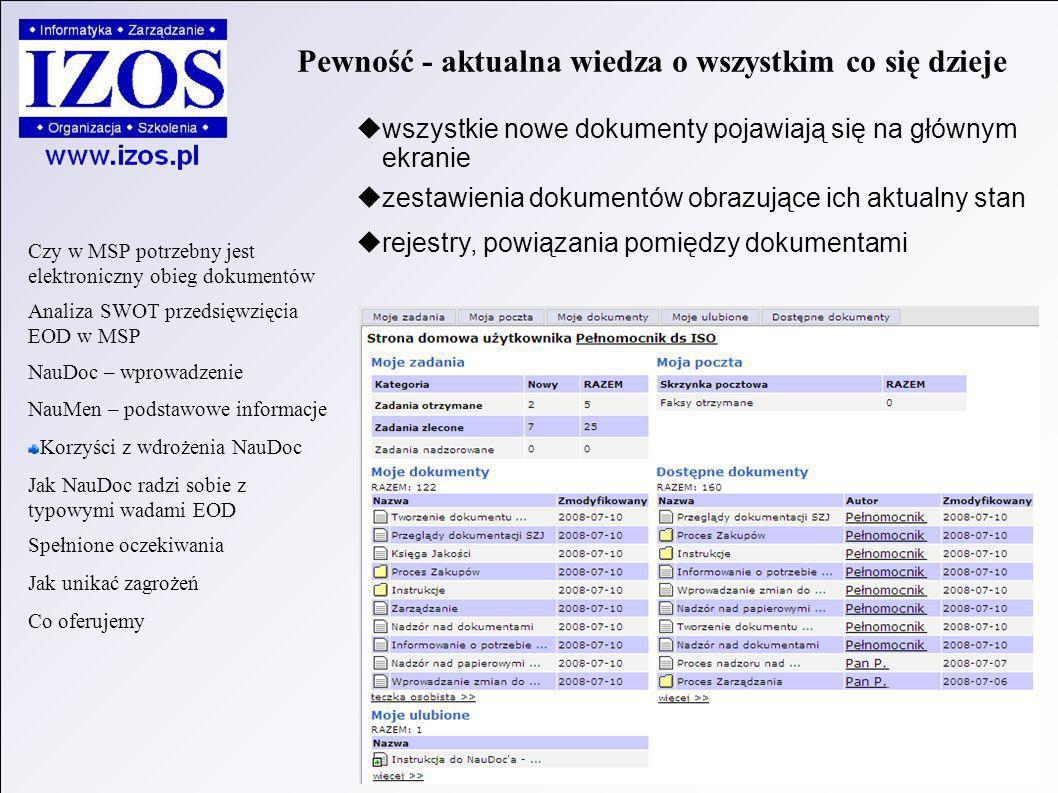 wszystkie nowe dokumenty pojawiają się na głównym ekranie zestawienia dokumentów obrazujące ich aktualny stan rejestry, powiązania pomiędzy dokumentami Pewność - aktualna wiedza o wszystkim co się dzieje Czy w MSP potrzebny jest elektroniczny obieg dokumentów Analiza SWOT przedsięwzięcia EOD w MSP NauDoc – wprowadzenie NauMen – podstawowe informacje Korzyści z wdrożenia NauDoc Jak NauDoc radzi sobie z typowymi wadami EOD Spełnione oczekiwania Jak unikać zagrożeń Co oferujemy