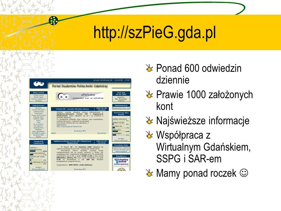 http://szPieG.gda.pl Ponad 600 odwiedzin dziennie Prawie 1000 założonych kont Najświeższe informacje Współpraca z Wirtualnym Gdańskiem, SSPG i SAR-em