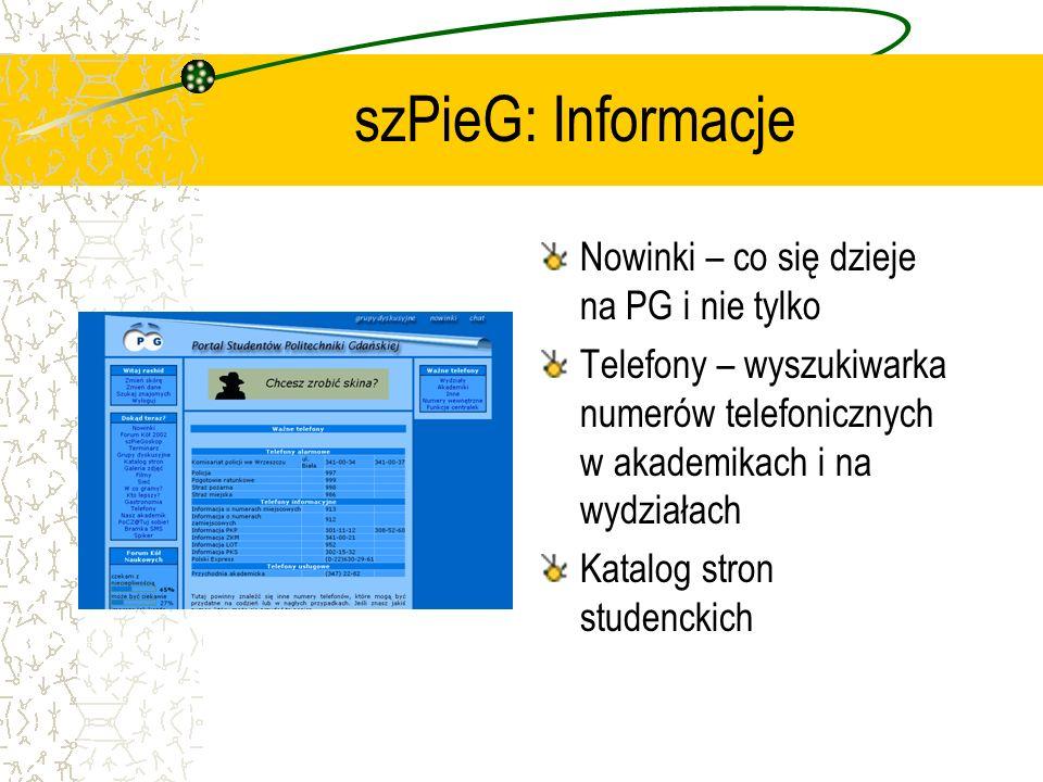 szPieG: Informacje Nowinki – co się dzieje na PG i nie tylko Telefony – wyszukiwarka numerów telefonicznych w akademikach i na wydziałach Katalog stro