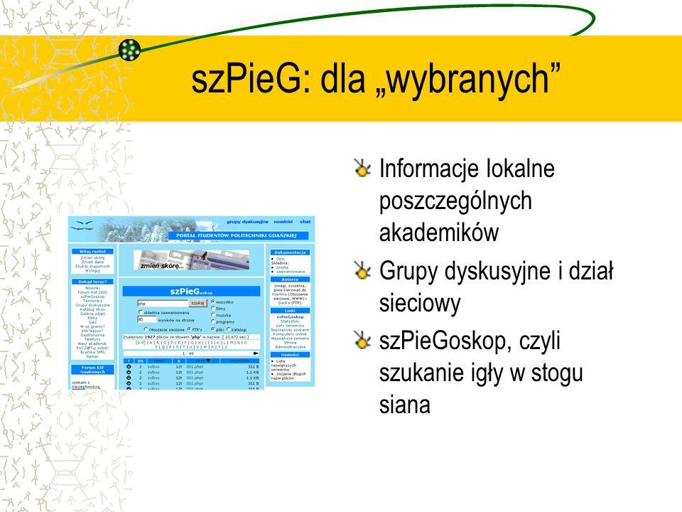 szPieG: dla wybranych Informacje lokalne poszczególnych akademików Grupy dyskusyjne i dział sieciowy szPieGoskop, czyli szukanie igły w stogu siana