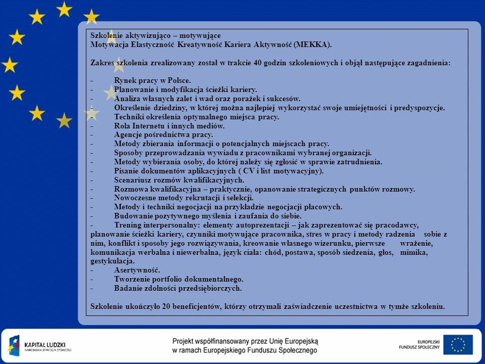 08-11-21 Szkolenie aktywizująco – motywujące Motywacja Elastyczność Kreatywność Kariera Aktywność (MEKKA).