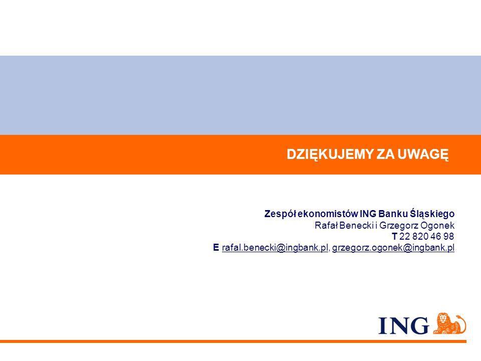 DZIĘKUJEMY ZA UWAGĘ Zespół ekonomistów ING Banku Śląskiego Rafał Benecki i Grzegorz Ogonek T 22 820 46 98 E rafal.benecki@ingbank.pl, grzegorz.ogonek@