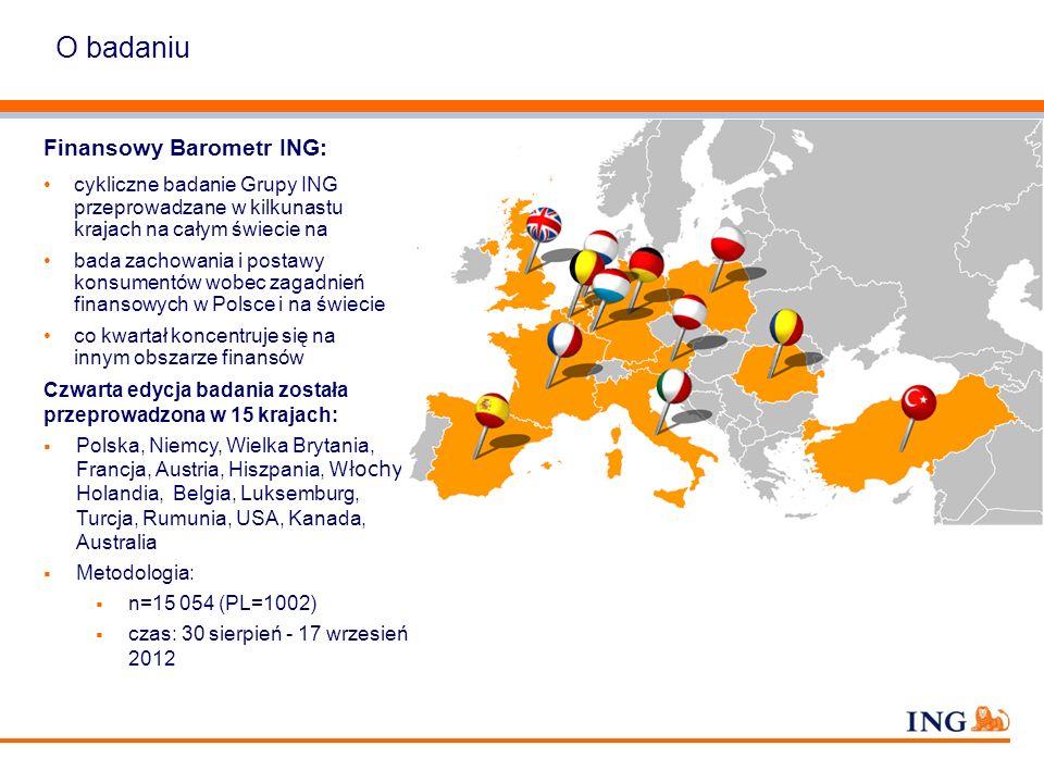 O badaniu Finansowy Barometr ING: cykliczne badanie Grupy ING przeprowadzane w kilkunastu krajach na całym świecie na bada zachowania i postawy konsum