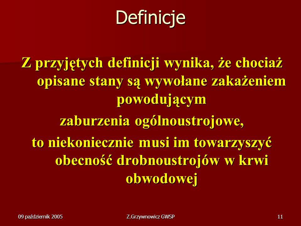 09 październik 2005Z.Grzywnowicz GWSP11 Definicje Z przyjętych definicji wynika, że chociaż opisane stany są wywołane zakażeniem powodującym zaburzeni