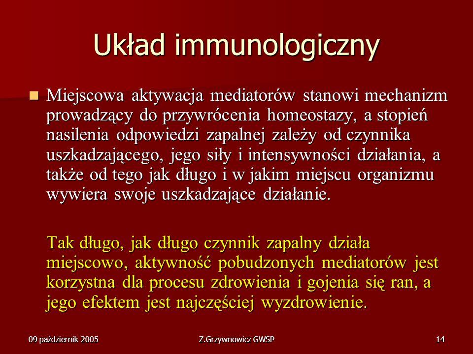 09 październik 2005Z.Grzywnowicz GWSP14 Układ immunologiczny Miejscowa aktywacja mediatorów stanowi mechanizm prowadzący do przywrócenia homeostazy, a