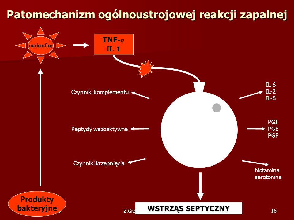 09 październik 2005Z.Grzywnowicz GWSP16 Patomechanizm ogólnoustrojowej reakcji zapalnej Produkty bakteryjne makrofag TNF- α IL-1 PGI PGE PGF histamina