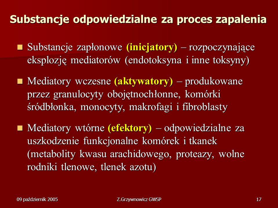 09 październik 2005Z.Grzywnowicz GWSP17 Substancje odpowiedzialne za proces zapalenia Substancje zapłonowe (inicjatory) – rozpoczynające eksplozję med