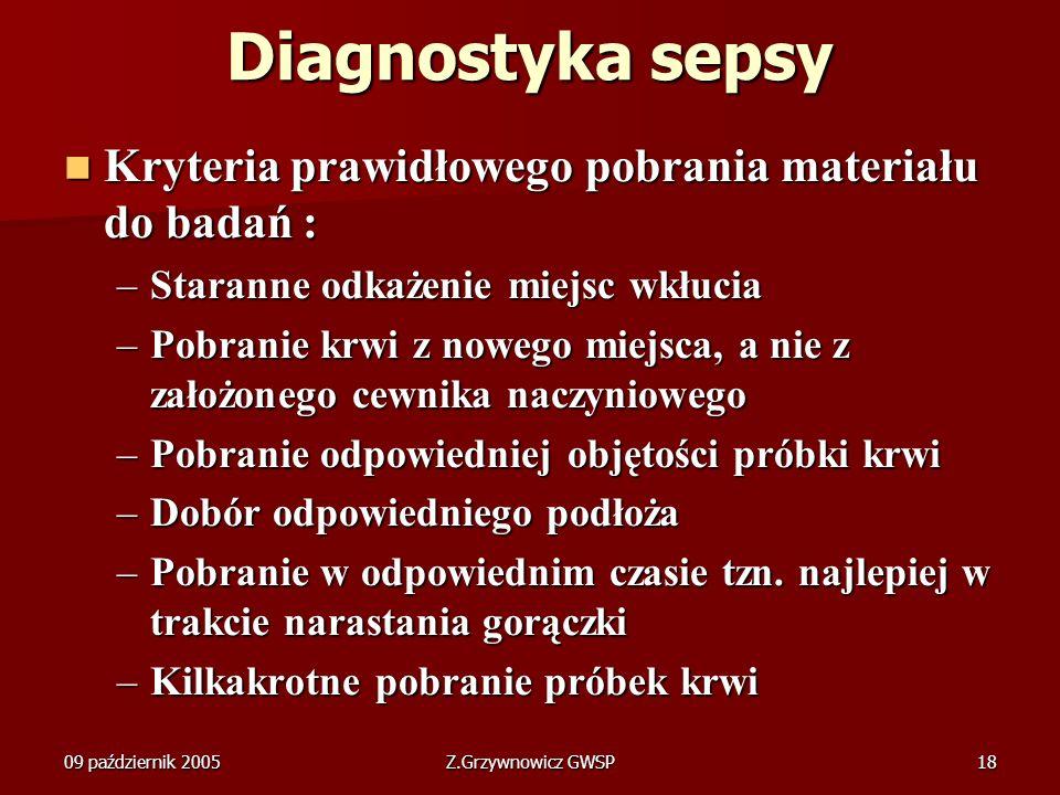 09 październik 2005Z.Grzywnowicz GWSP18 Diagnostyka sepsy Kryteria prawidłowego pobrania materiału do badań : Kryteria prawidłowego pobrania materiału