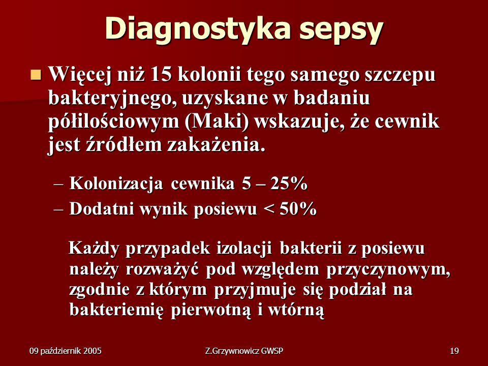 09 październik 2005Z.Grzywnowicz GWSP19 Diagnostyka sepsy Więcej niż 15 kolonii tego samego szczepu bakteryjnego, uzyskane w badaniu półilościowym (Ma