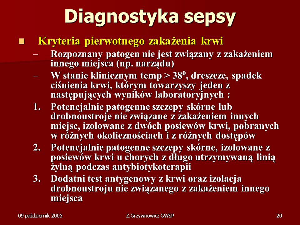 09 październik 2005Z.Grzywnowicz GWSP20 Diagnostyka sepsy Kryteria pierwotnego zakażenia krwi Kryteria pierwotnego zakażenia krwi –Rozpoznany patogen