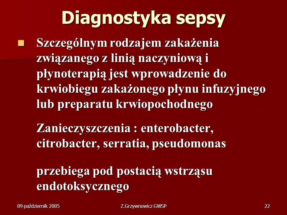 09 październik 2005Z.Grzywnowicz GWSP22 Diagnostyka sepsy Szczególnym rodzajem zakażenia związanego z linią naczyniową i płynoterapią jest wprowadzeni