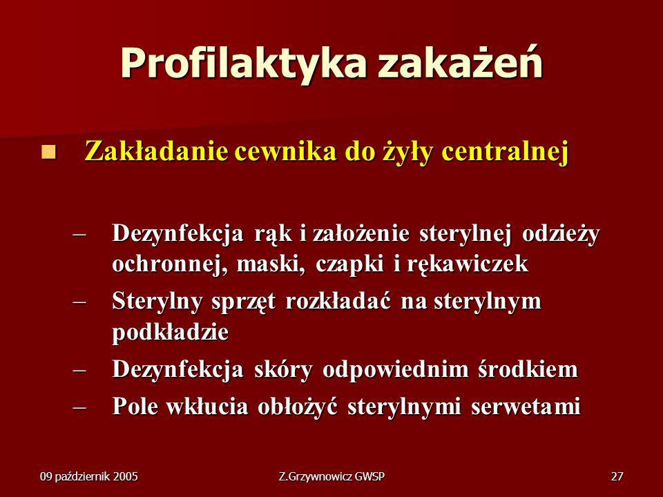 09 październik 2005Z.Grzywnowicz GWSP27 Profilaktyka zakażeń Zakładanie cewnika do żyły centralnej Zakładanie cewnika do żyły centralnej –Dezynfekcja