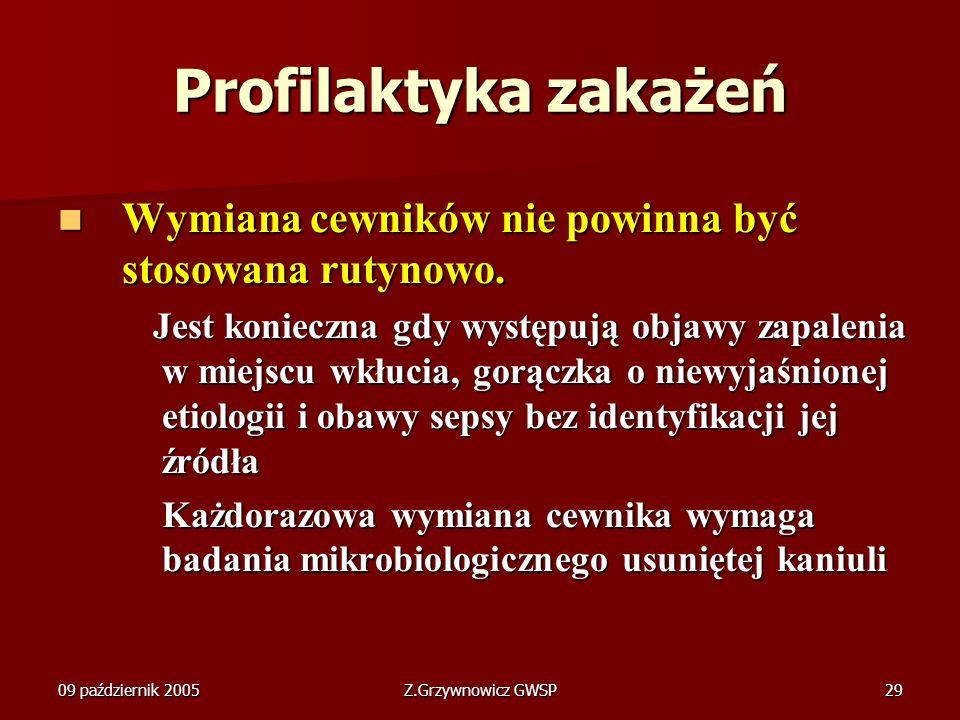 09 październik 2005Z.Grzywnowicz GWSP29 Profilaktyka zakażeń Wymiana cewników nie powinna być stosowana rutynowo. Wymiana cewników nie powinna być sto